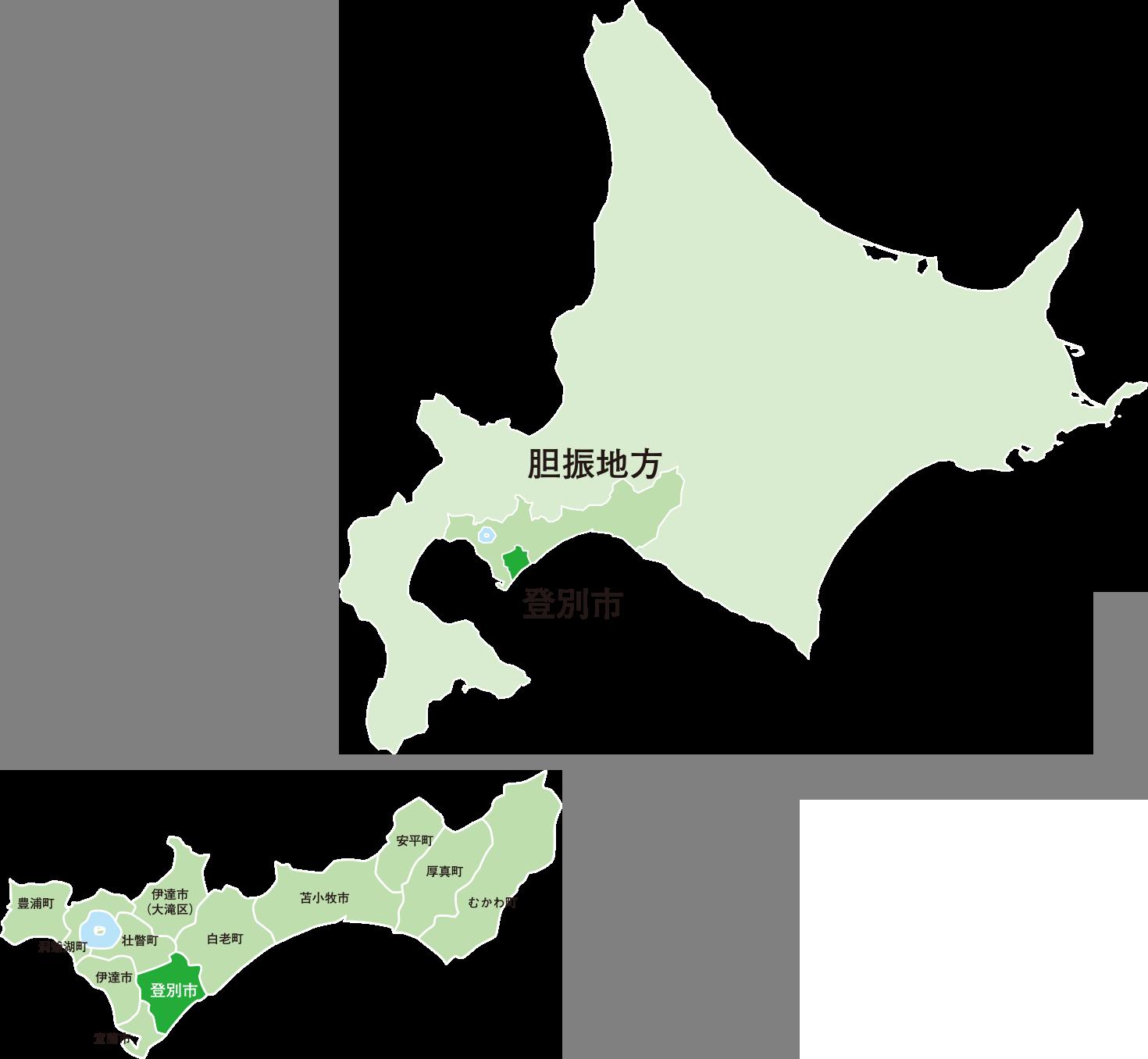 北海道 胆振地方 登別市周辺の拡大地図